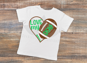 Football Heart SVG, Football Mom decal, Love my Boy cut file