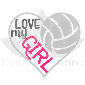 Volleyball Heart SVG, Volleyball Mom decal, Love my Girl cut file