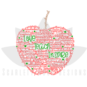 Teacher Appreciation Gift SVG cut file, Apple Word Cloud Art SVG, EPS, PNG