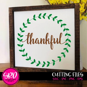 Thankful - Thanksgiving Fall Wreath SVG