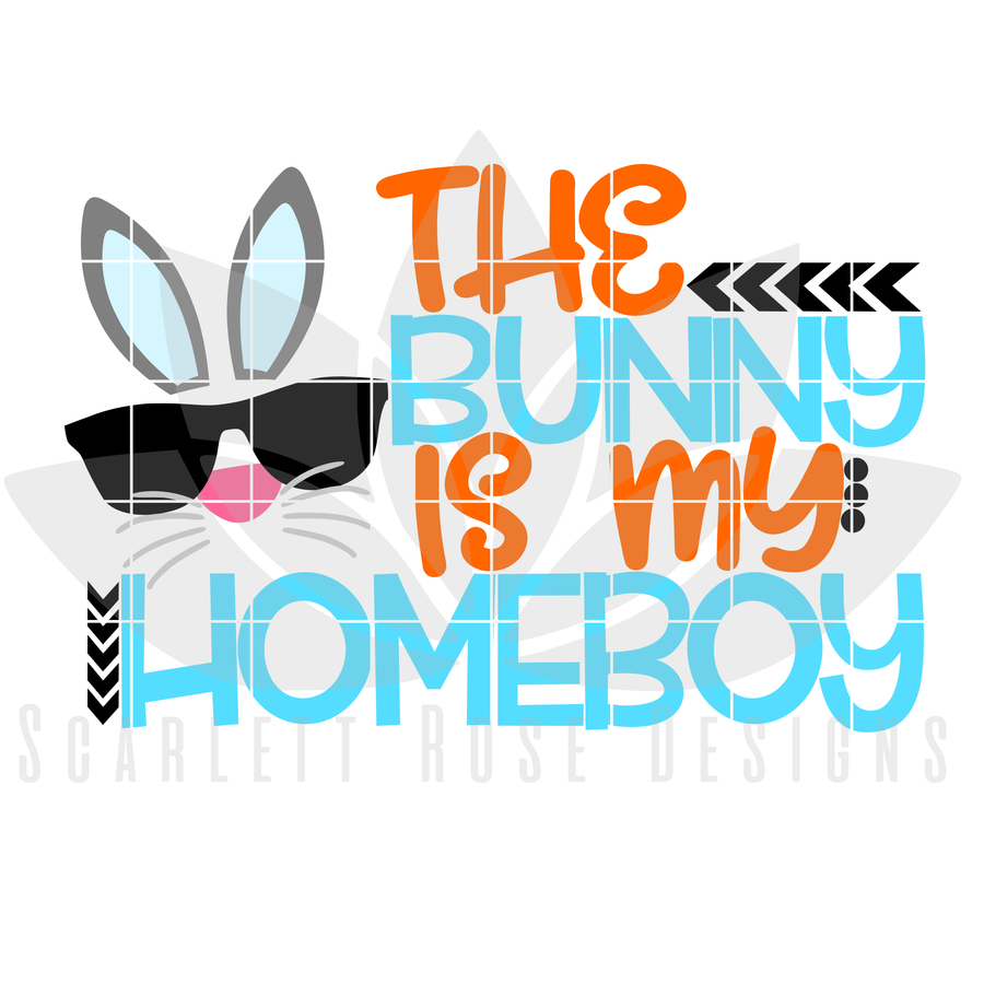Easter SVG, The Bunny is my Homeboy cut file