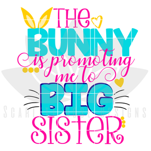 Easter SVG, The Bunny is promoting me to Big Sister cut file