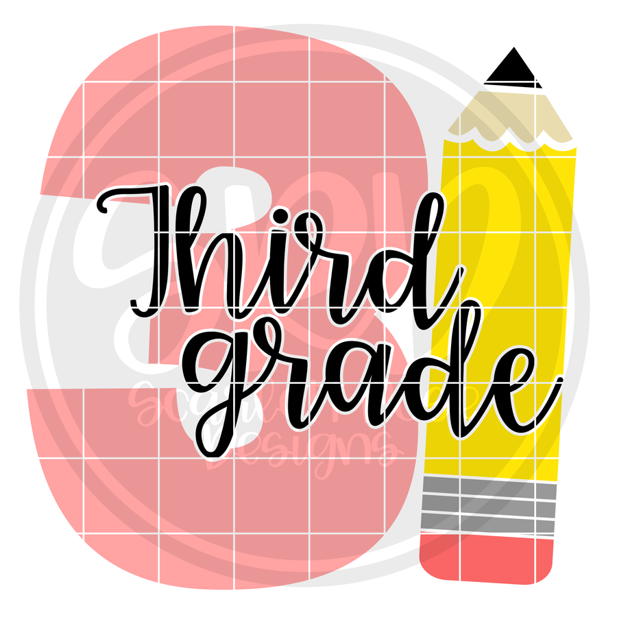 Third Grade 3 SVG -Pencil