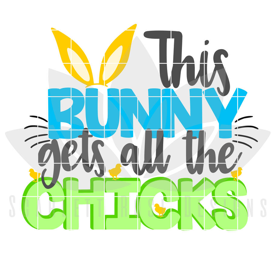 Easter SVG, This Bunny Gets all the Chicks cut file
