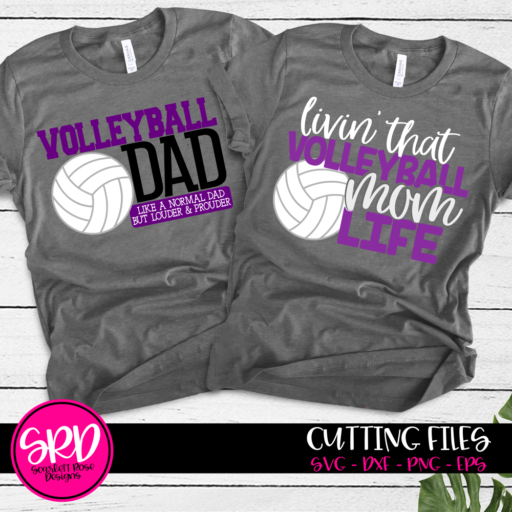 Sports Svg Volleyball Dad Volleyball Mom Svg Set Cut File Scarlett Rose Designs