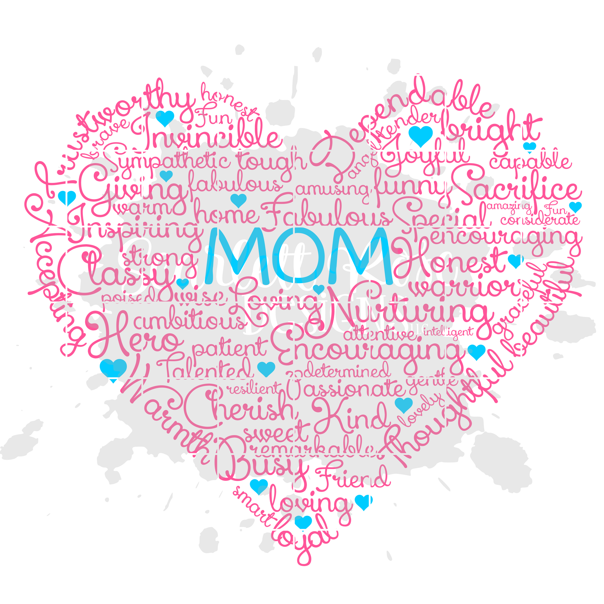 Mother's Day SVG Cut File, Best Mom Heart Word Cloud