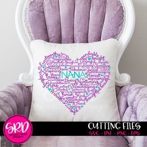 Nana Heart Word Cloud SVG