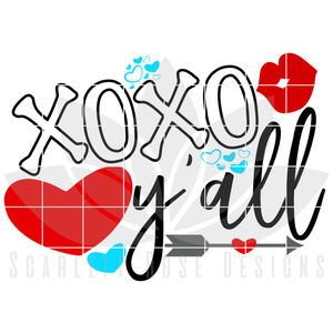 Valentine's Day SVG, DXF, XOXO y'all cut file