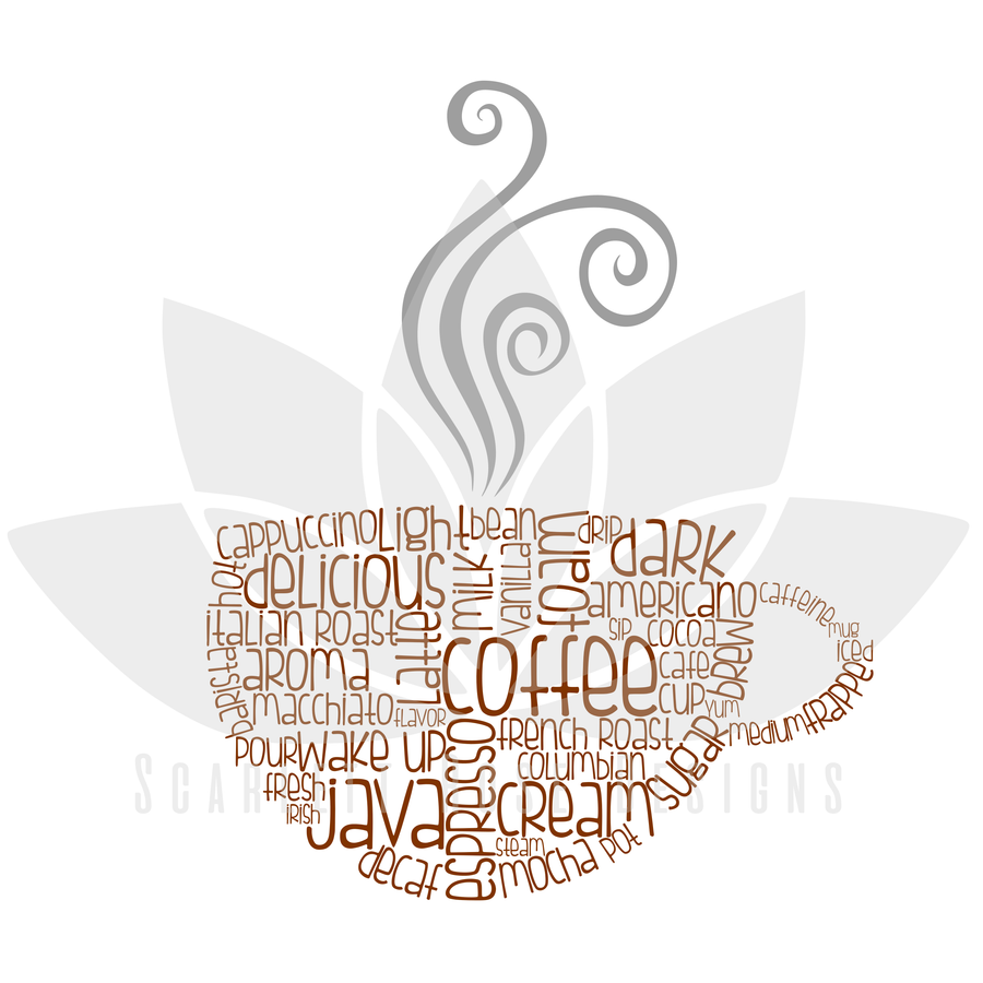 Coffee Cup Decor Word Cloud Art SVG cut file, Coffe Kitchen decor SVG, EPS, PNG