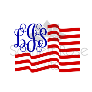 Patriotic American Flag Monogram Frame SVG cut file