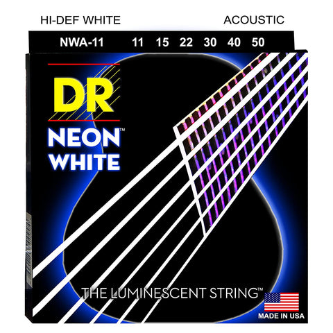 DR Hi-Def NEON White K3 Coated Acoustic Guitar Strings - GuitarPusher