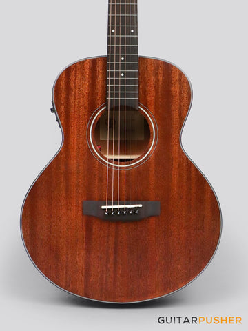Phoebus Baby-N GS-E v3 All Mahogany GS Mini (3rd Gen.) Travel Acoustic-Electric Guitar w/ Gig Bag - GuitarPusher