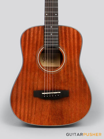 Phoebus Baby-N v3 3/4 Dreadnought (3rd Gen.) All-Mahogany Travel Acoustic Guitar w/ Gig Bag - GuitarPusher