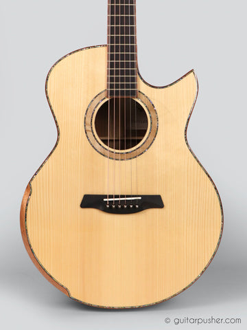 Maestro Custom Raffles All Solid Small Jumbo Acoustic Guitar Adirondack Spruce / Koa - GuitarPusher