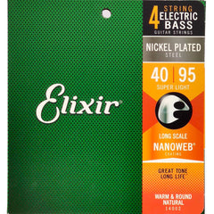 Elixir Electric Bass 4-String Nickel Plated Steel Bass Guitar Strings with NANOWEB Coating