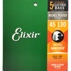 Elixir Electric Bass 5-String Nickel Plated Steel Bass Guitar Strings with NANOWEB Coating