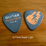 Guitar Pusher DelTex Collectible Guitar Pick Set with Tin Can - 0.71mm 0.88mm 1.0mm 1.2mm 1.5mm Delrin Tortex - GuitarPusher