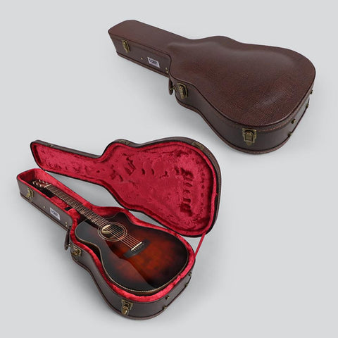 G-Craft HC-043 Premium Brown hard case for Acoustic Guitar - Dreadnought and Grand Auditorium - GuitarPusher