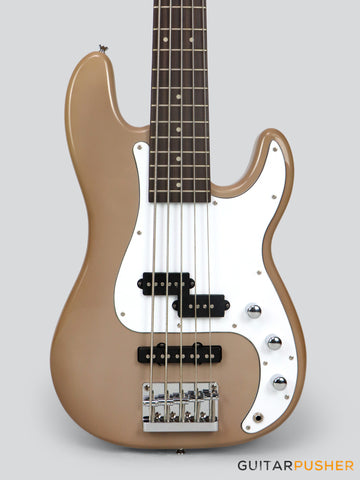 Elegee Alab Series P+J 5-String Bass Basswood Body Rosewood Fingerboard - Aircraft Gray