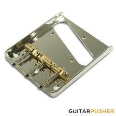 Kluson Hybrid Replacement Bridge For Fender American Standard Tele - Steel w/ Intonated Brass Saddle