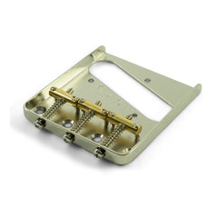 Kluson Vintage Replacement Bridge for Fender Tele - Steel w/ Brass Saddles (Satin Nickel)