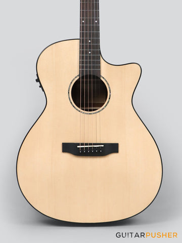 Phoebus PG-40ce v3 Solid Top OM (3rd Gen.) Acoustic-Electric Guitar w/ Gig Bag - GuitarPusher