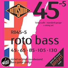Rotosound Roundwound Rotobass 5-string Bass Guitar Nickel - GuitarPusher