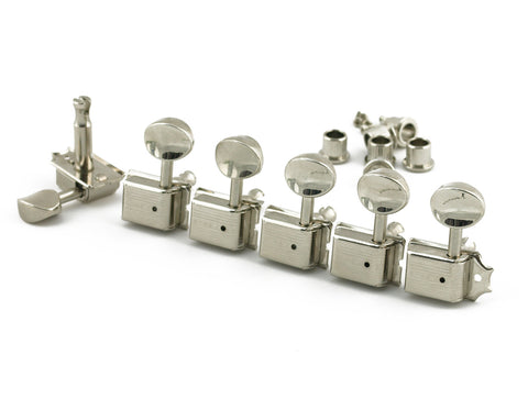 Kluson Traditional - 6 in line - Oval Metal Button Machine Head Tuner Nickel - LEFT HAND / REVERSE HEADSTOCK