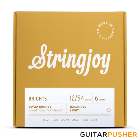 Stringjoy Acoustic Guitar String Set Light - Bright Brass 12s (12-54)