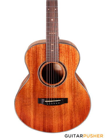 Tyma M-12ME Solid Mahogany Top All-Mahogany Mini Jumbo Acoustic-Electric Guitar with Fishman Presys II