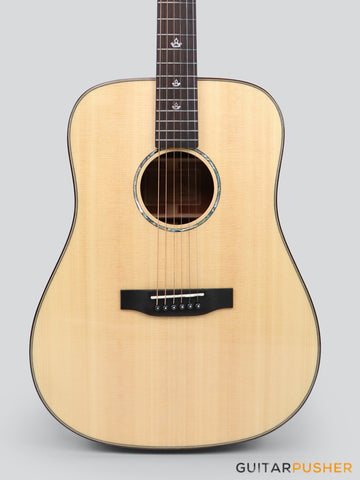 Tyma TD-10E Solid Sitka Spruce Top African Peach Core Dreadnought Acoustic-Electric Guitar with T-200 preamp