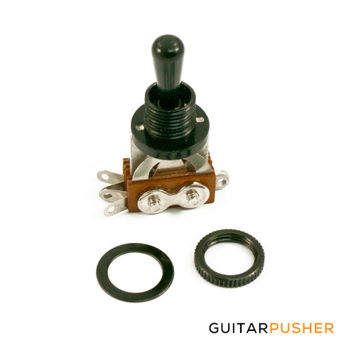 WD 3 Position Toggle Switch For LP Style Guitars 2 Pickup - Black With Black Metal Tip