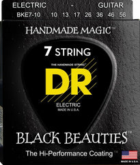 DR Black Beauties Coated Electric Guitar 7-Strings K3 Coated Medium Electric Guitar Strings