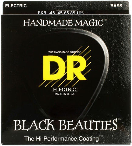 DR Black Beauties 4-String Black Stainless Bass Guitar Strings with K3