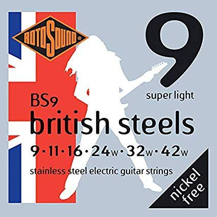 Rotosound British Steels Stainless Steel Electric Guitar String Set - GuitarPusher