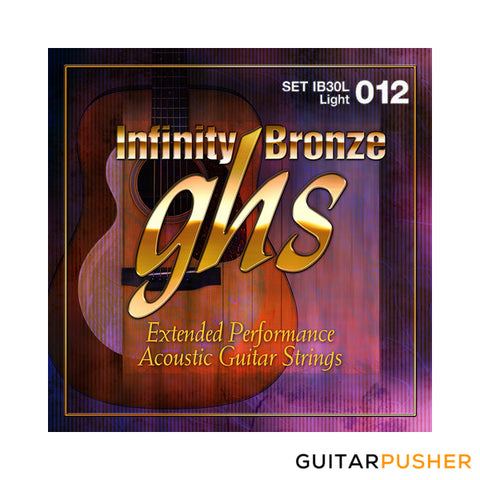 GHS Infinity Bronze Treated Acoustic Guitar Strings Extended Performance IB30L Light 12-54 (12 16 24 32 42 54)
