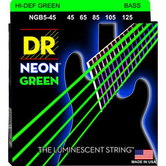 DR Neon Green 5-String Bass Guitar Strings with K3 Coated Medium Bass Strings - GuitarPusher