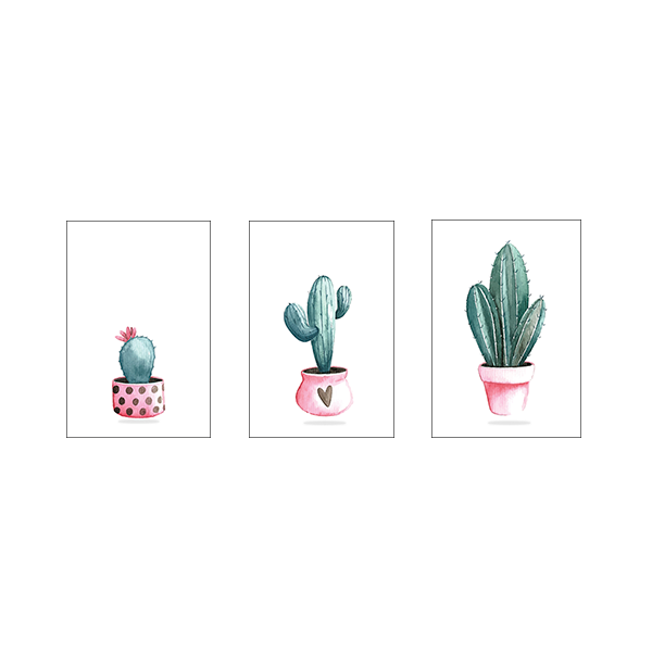 Cactus Plant In Pots - Set of 3 Frames