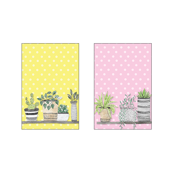 Colorful Flower Pots #A - Set of 2 Frames