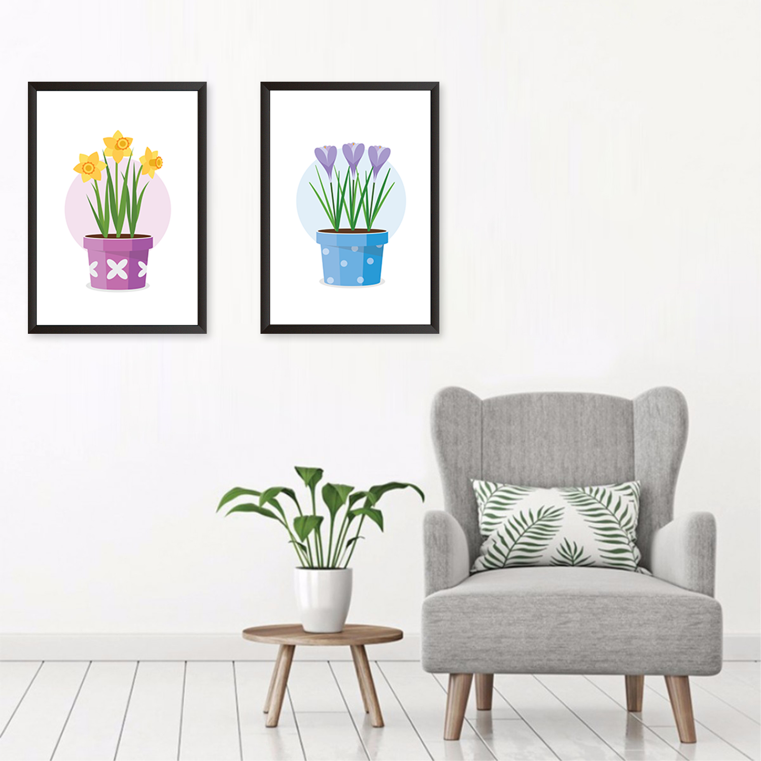 Colorful Flower Pots - Set of 2 Frames