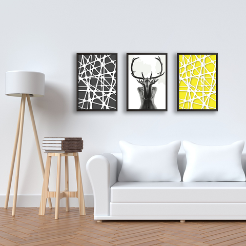 Abstract Woman Black Antlers With Geometric Patterns  - Set Of 3 Frames