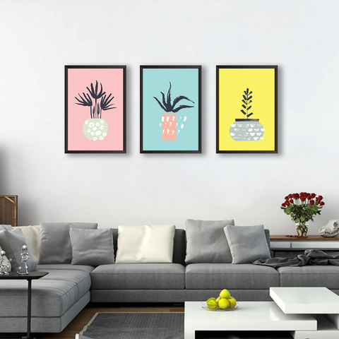 Colorful Pots - Set of 3 Frames