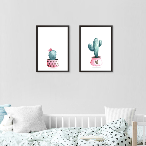 Cactus Plant In Pots - Set of 2 Frames