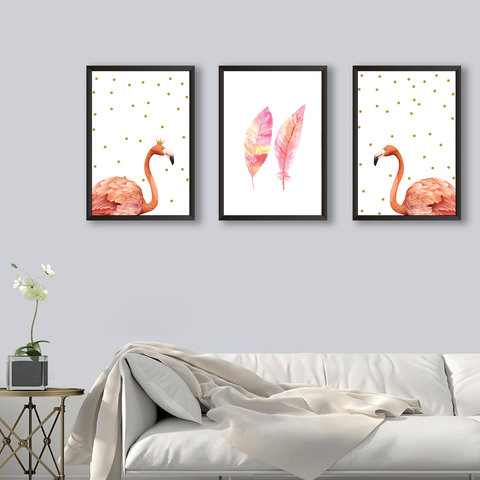 Pink Flamingo #GOLD - Set of 3 Frames