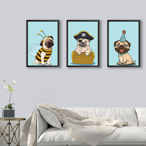 Cute Pugs - Set of 3 Frames