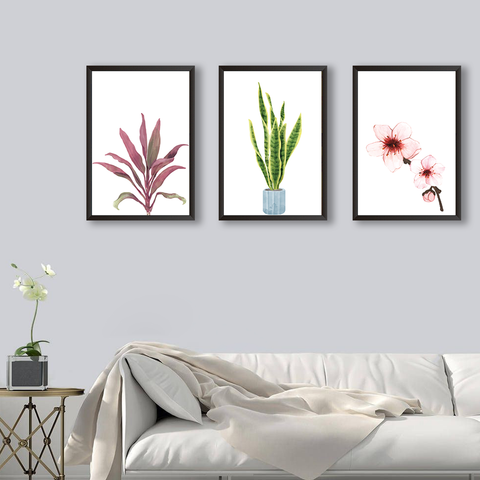 Plant & leaves - Set of 3 Frames