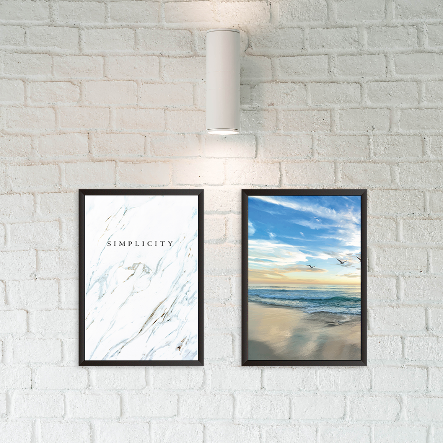 Beachy With Simplicity Quote - Set of 2 Frames