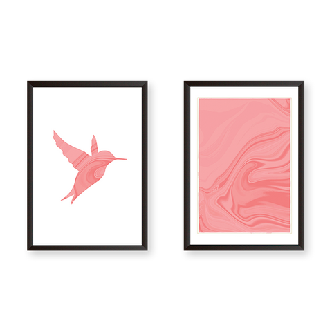 A Pink Bird With Marble Texture - Set of 2 Frames
