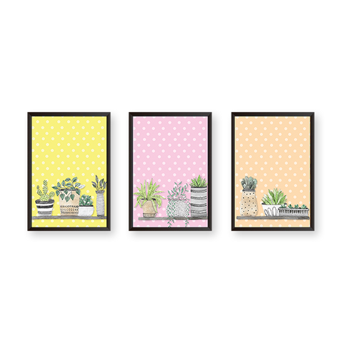 Colorful Pots #A - Set of 3 Frames