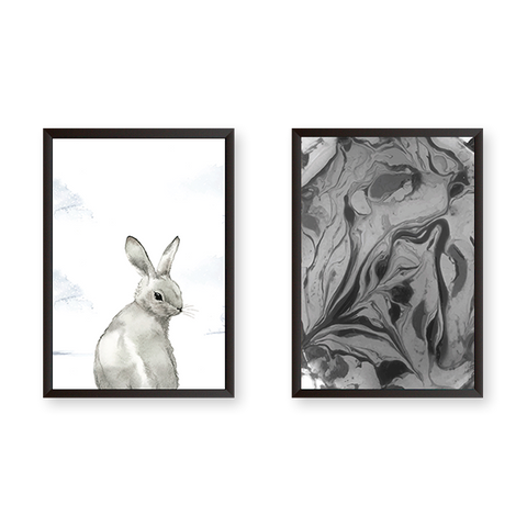 Rabbit with Modern Art Set of 2 Frames